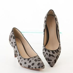Cole Haan Gemma Pumps Calf Hair Leopard Print Gray